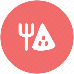 fork, fork and pizza, italian pizza, pizza, pizza slice, restaurant icon