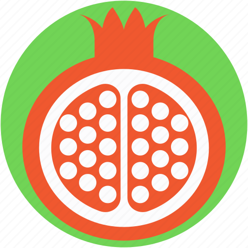 food, fruit, pomegranate, punica granatum, spherical fruit icon