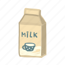 drink, breakfast, milk, box, dairy, package icon