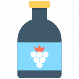 alcohol, champagne bottle, grapes juice, wine bottle, wine grapes icon