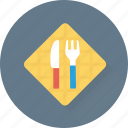 crockery, cutlery, fork, kitchen, knife icon