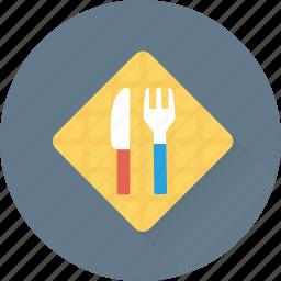 crockery, cutlery, fork, kitchen, knife icon