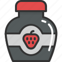 food, jam jar, jar, marmalade, strawberry jam icon
