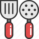 cooking, kitchen utensils, skimmer spoon, spatula, turner icon