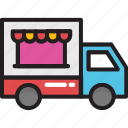 food stand, food truck, street food, vending cart, vendor icon