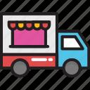 food stand, food truck, street food, vending cart, vendor icon