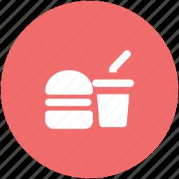 burger and drink, cheeseburger, drink, fast food, hamburger, junk food icon