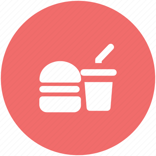 burger and drink, cheeseburger, drink, fast food, hamburger, junk food icon