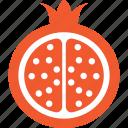 food, fruit, pomegranate, punica granatum, spherical fruit icon