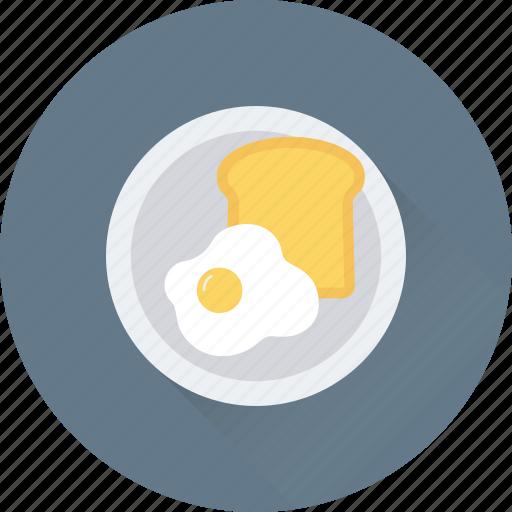 breakfast, egg, food, plate, toast icon