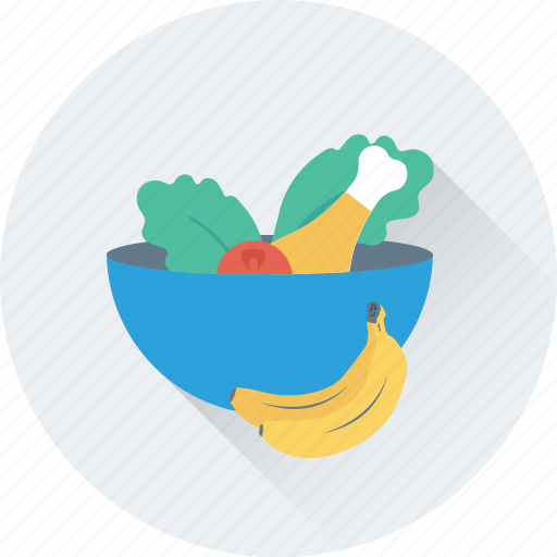 bowl, diet, fruits, healthy food, vegetables icon