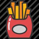 fries, fries box, potato fries, french fries, frites icon