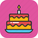 bakery food, birthday cake, cake, dessert, food icon