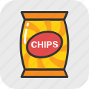 chips, chips pack, crisps, potato chips, snack