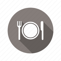 eat, food, fork, knife, lunch, plate, restaurant icon