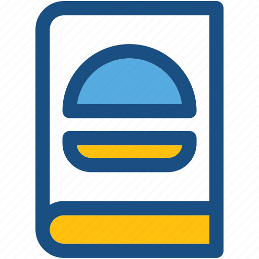 burger recipe, cookbook, cooking book, cooking guide, recipe book icon
