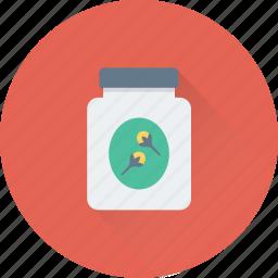 bottle, cloves jar, grocery, ground cloves, spice icon