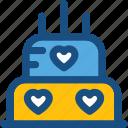 bakery, cake, food, valentine cake, wedding cake icon