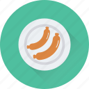 barbecue, plate, roll, salami, sausage icon