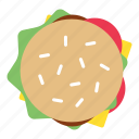burger, fast food, food, hamburger, top icon