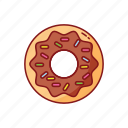 chocolate, donut, foods, line, street, sweet icon