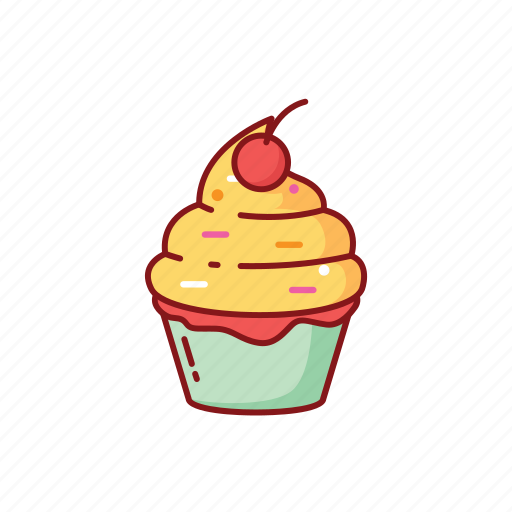 cherry, cupcake, foods, line, street, sweet icon