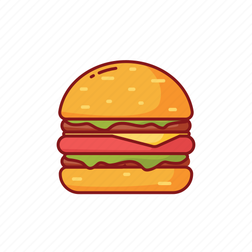 burger, foods, humberger, line, meat, street icon