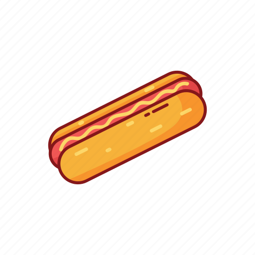 bread, foods, hot dog, line, sausage, street icon