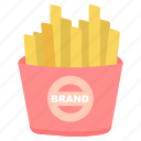 chips, fastfood, finger chips, food, french fries icon