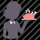 dining, dinner, restaurant, service, waitress icon