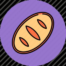 bread, breakfast, food, loaf, wheat icon