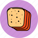 bread, breakfast, slices, wheat icon
