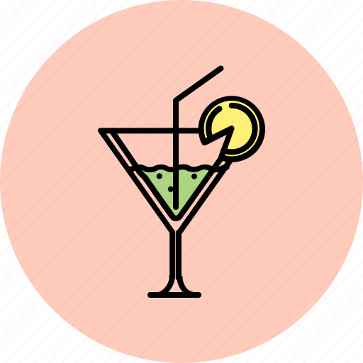 cocktail, drink, glass, martini, straw icon