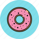 doughnut, food, glazed, sugar, sweet, wheat icon