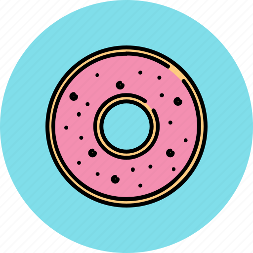 doughnut, food, glazed, sugar, sweet, wheat icon