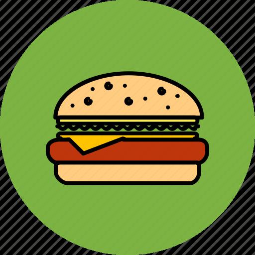 burger, cheeseburger, fast, food, hamburger, junk icon