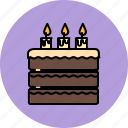 birthday, cake, candle, chocolate, dessert, large, sweet icon