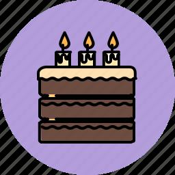 birthday, cake, candle, chocolate, dessert, large, sweet icon