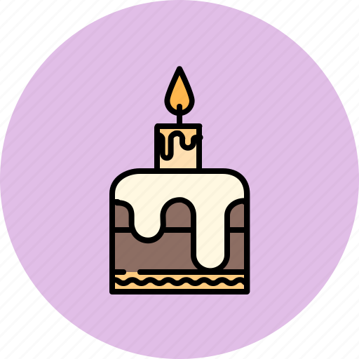 birthday, cake, candle, chocolate, small icon