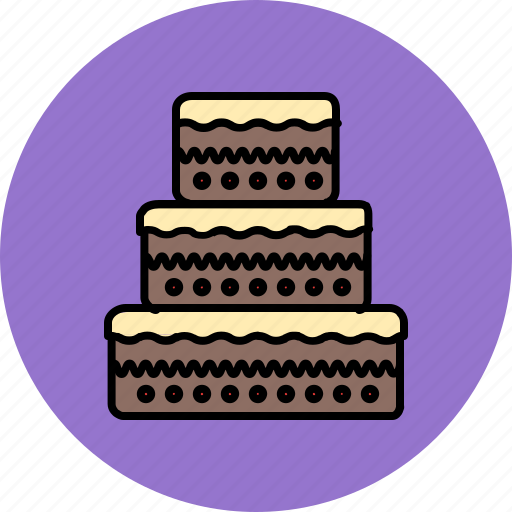 cake, chocolate, food, sweet, tiered, wedding icon