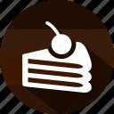 cake, cherry, dessert, eating, food, slice, sweet icon