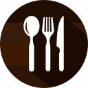 cutlery, dinner, food, fork, kitchen, knife, spoon icon
