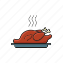 chicken, food, roast, roast chicken, turkey icon icon