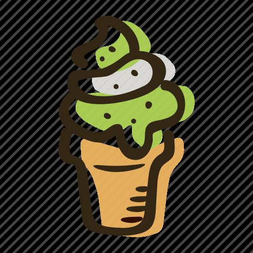 dessert, frozen, fruit, ice cream, ice cream cone, milk, sweet icon