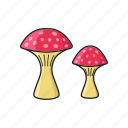 amanita, cooking, food, mushroom, vegetable icon icon