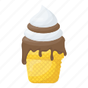 chocolate ice cream, dessert, dripping ice cream, ice cream, melting ice cream icon