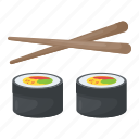 chopsticks, japanese cuisine, seafood, snacks, sushi icon