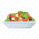 fresh mixed fruit, fruit salad, mixed vegetables pieces, salad, veggies icon
