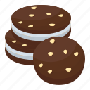 bakery food, biscuits, chocolate chip cookies, cookies, snacks icon