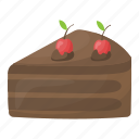 cake piece, cake slice, sweet food, bakery food, chocolate cake icon